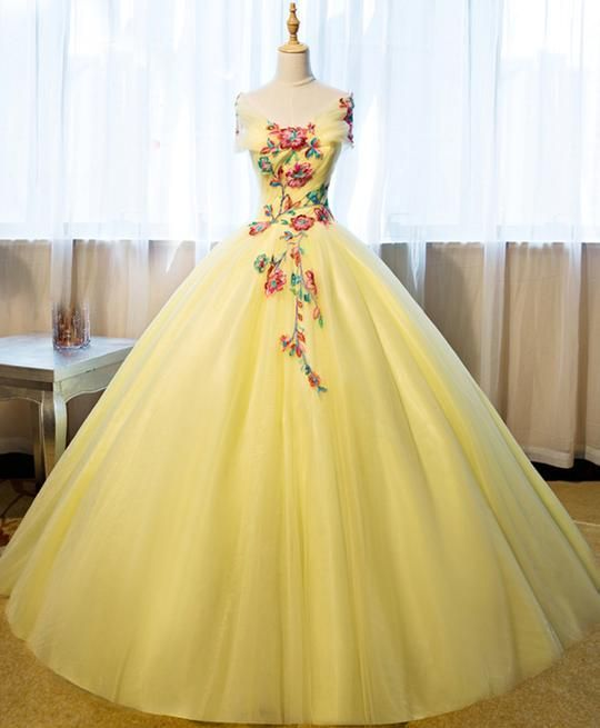 Beautiful Yellow Tulle Long Prom Dress Sweet 16 Gowns Yellow Formal Dresses Ml1511 Quincenera Dresses Gowns Dresses Yellow Formal Dress