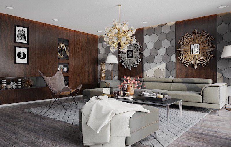 dcoration mur intrieur salon en panneau de bois et hexagones gris
