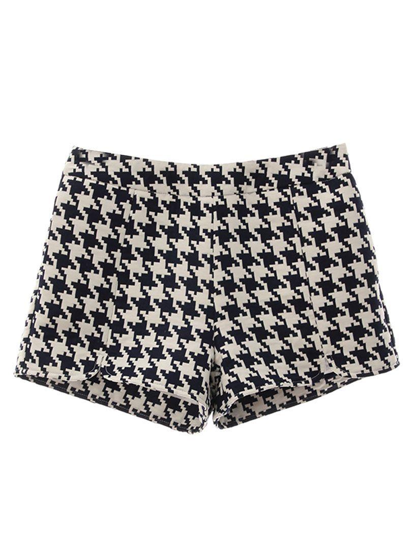 Houndstooth Print Split Shorts | Choies