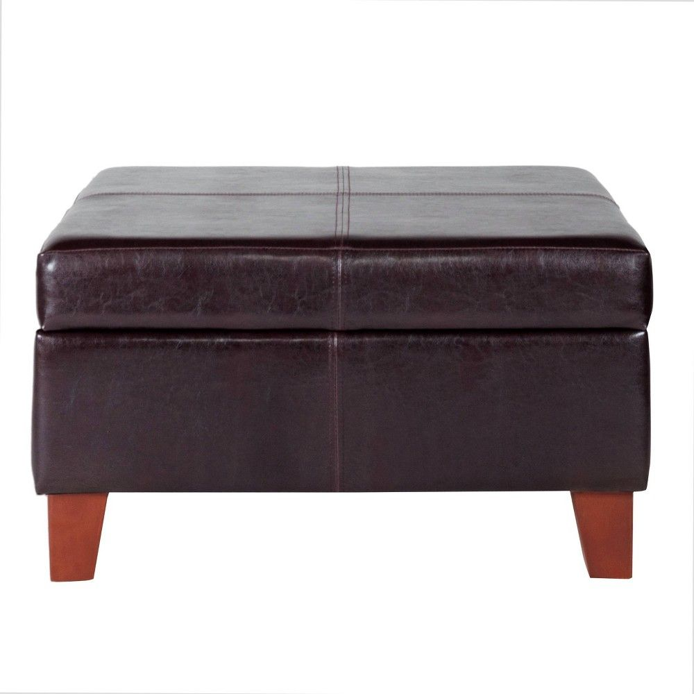 Large Faux Leather Storage Ottoman Brown - HomePop