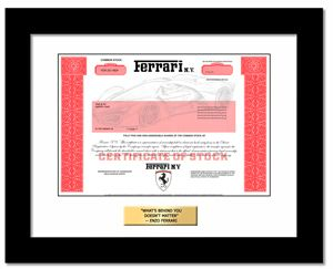 heres where you can order single shares of ferrari and get a framed stock certificate
