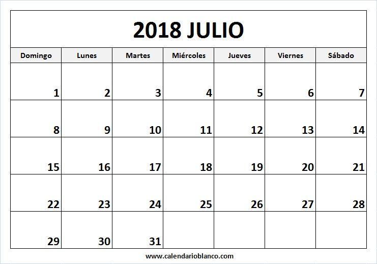 Calendario Grande.Resultado De Imagen De Calendario Grande Julio 2018 Imprimir