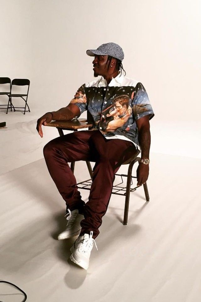 bed5bbafc1bb4 Pusha T wearing Prada Impossible True Love Camp-Collar Printed Cotton Shirt