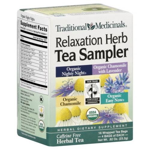 Relaxation Herb Tea Sampler (16  Bag) includes 4 tea bags each of Organic Nighty Night Organic Chamomile with Lavender Organic Chamomile and Organic Easy Now .