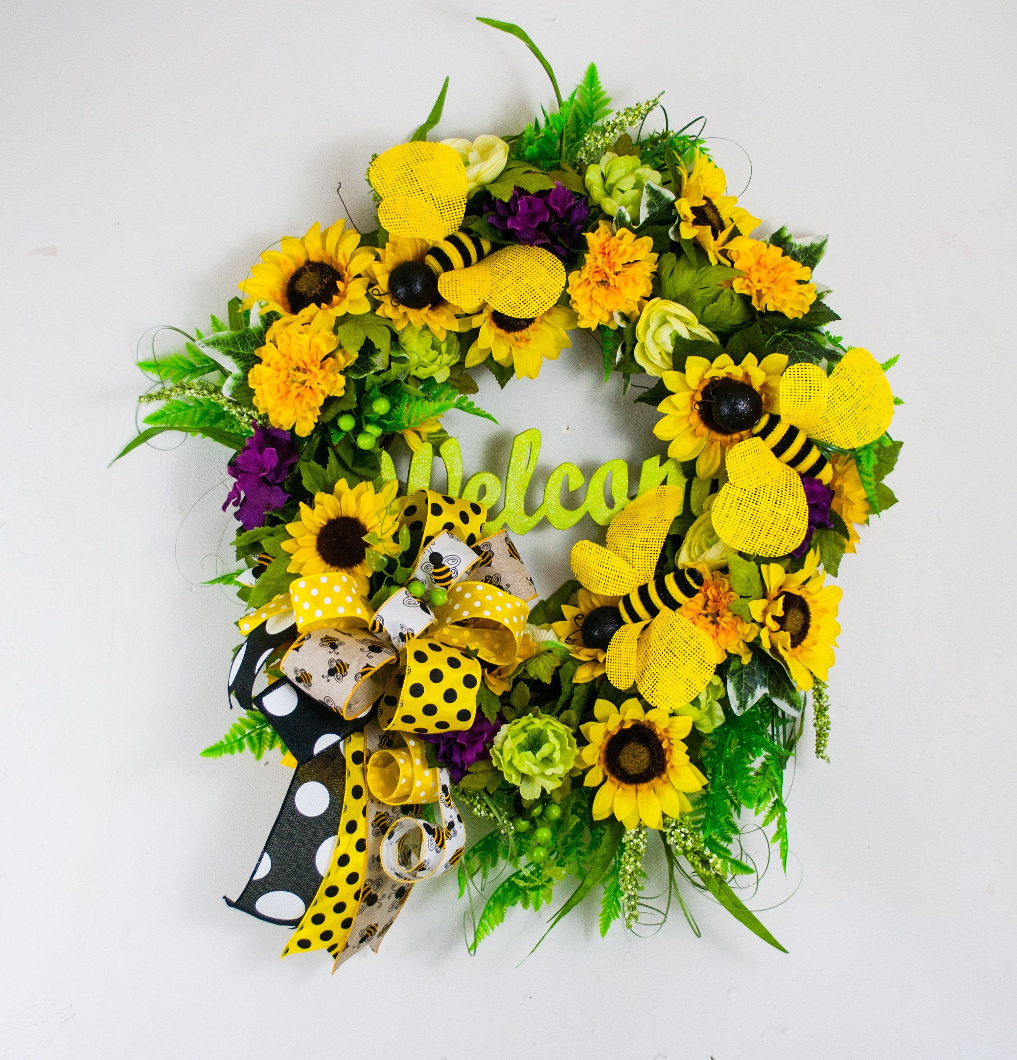 Photo of Sunflower wreath with bumble bees, summer sunflower wreath for front door, Welcome wreath with sunflowers and bumble bees