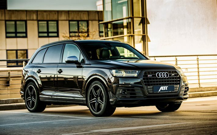Download Wallpapers Audi Sq7 2016 Black Q7 Abt Tuning Audi Crossover Tuning Q7 Besthqwallpapers Com Audi Q7 Audi Cars Black Audi