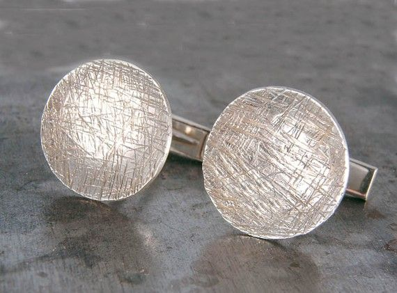 Jewelry Gift for Groom Under 50 Shirt Links Sterling Silver Cuff Links  Silver Wood Grain Cufflinks  Rustic Cuff Links  Dad Birthday