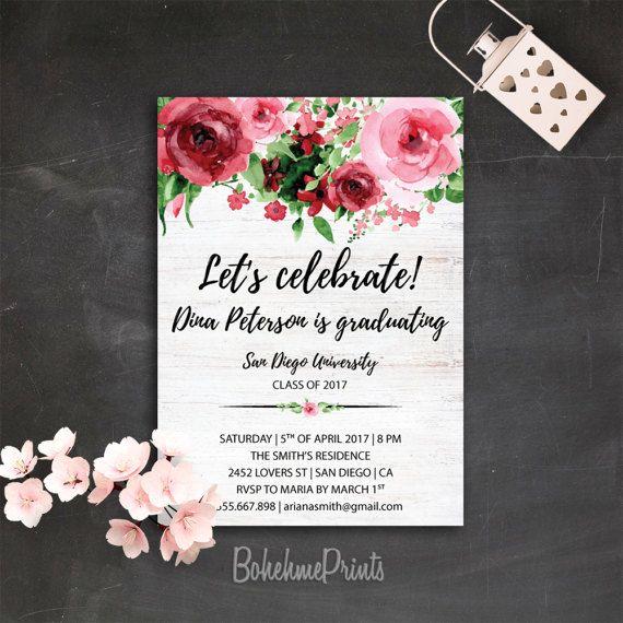floral graduation invitation college graduation announcement class