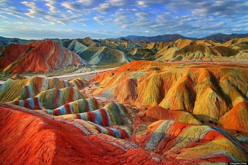 Rainbow mountains,  Gans,  China
