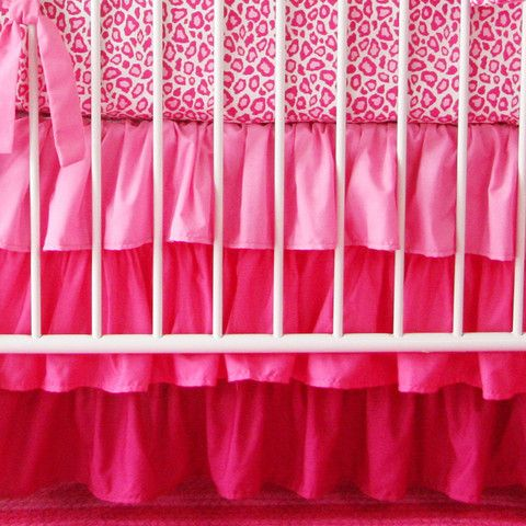 Girly Pink Leopard Bumperless Crib Bedding   Jack and Jill Boutique