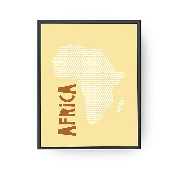 Africa Yellow Print, Classroom Decor, Nursery Wall Art, Typography ...