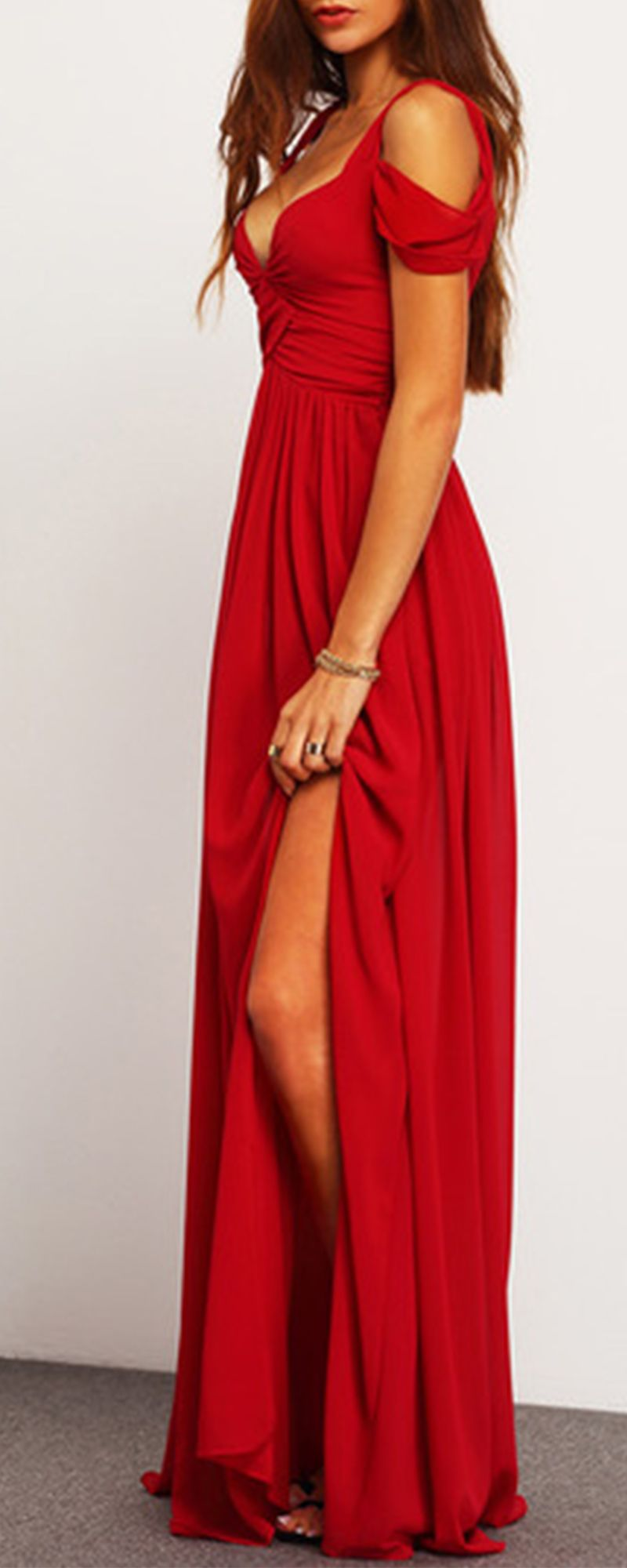 Elegance Wine Red Maxi Dress in case I go to any more military