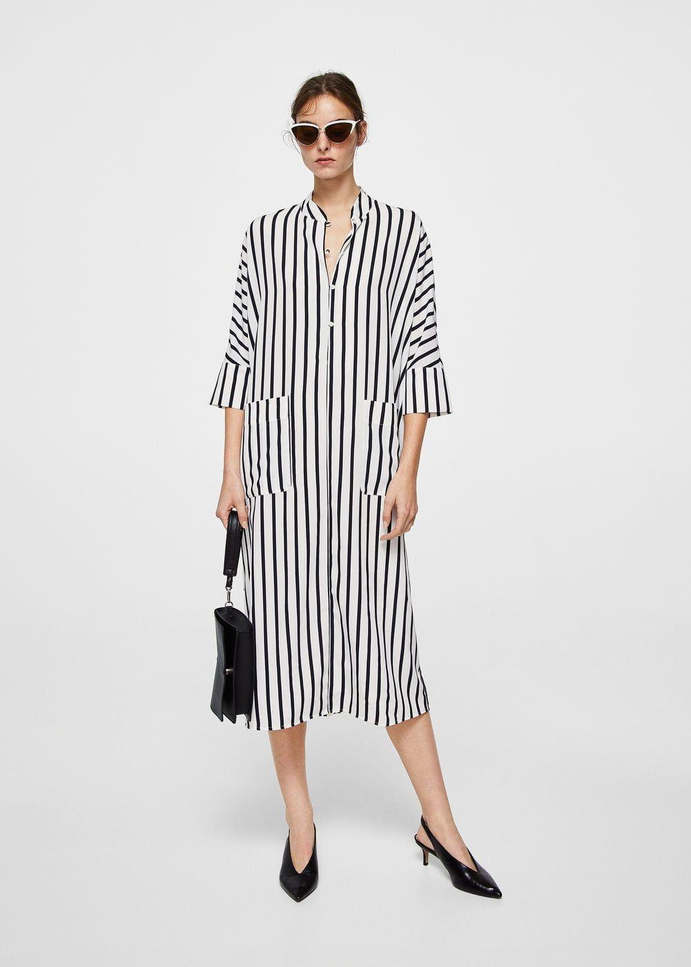Cizgili Gomlek Elbise Kadin Mango Turkiye Striped Shirt Dress Shirt Dress Clothes