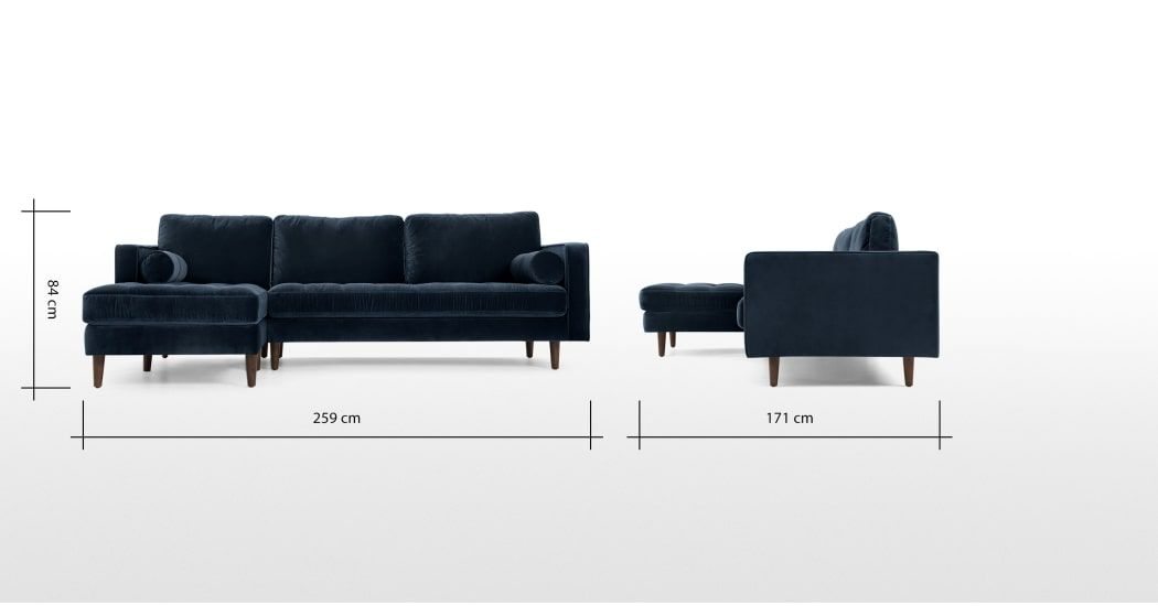 Scott 4 Seater Left Hand Facing Chaise End Corner Sofa Navy Cotton Velvet Ecksofa Recamiere Goldenes Sofa