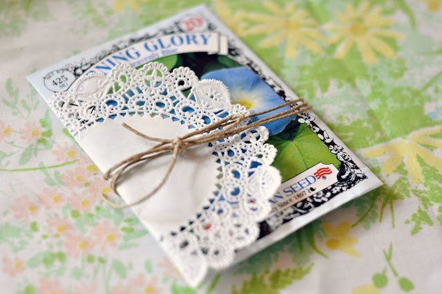 Neat idea for wedding favors especially for spring. And they would be easy to put together.  everyday lovely: Vintage Bridal Shower: Favors