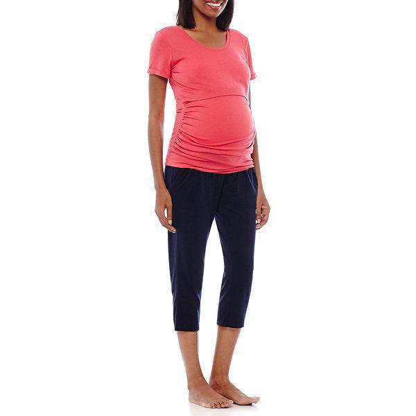 Spencer Maternity Short-Sleeve Nursing Top and Capris Pajama Set ...