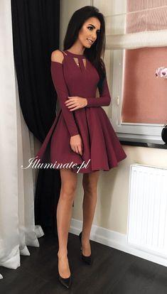 Zaira Bordowa Burgundy Short Dress Short Dresses Homecoming Dresses