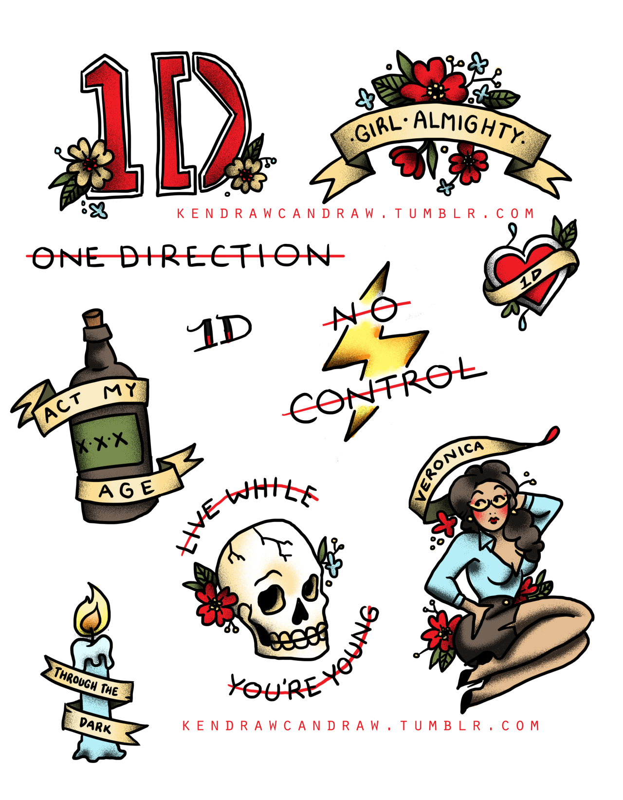 Sailor jerry style one direction tattoo flash because why the hell kendrawcandraw voltagebd Choice Image