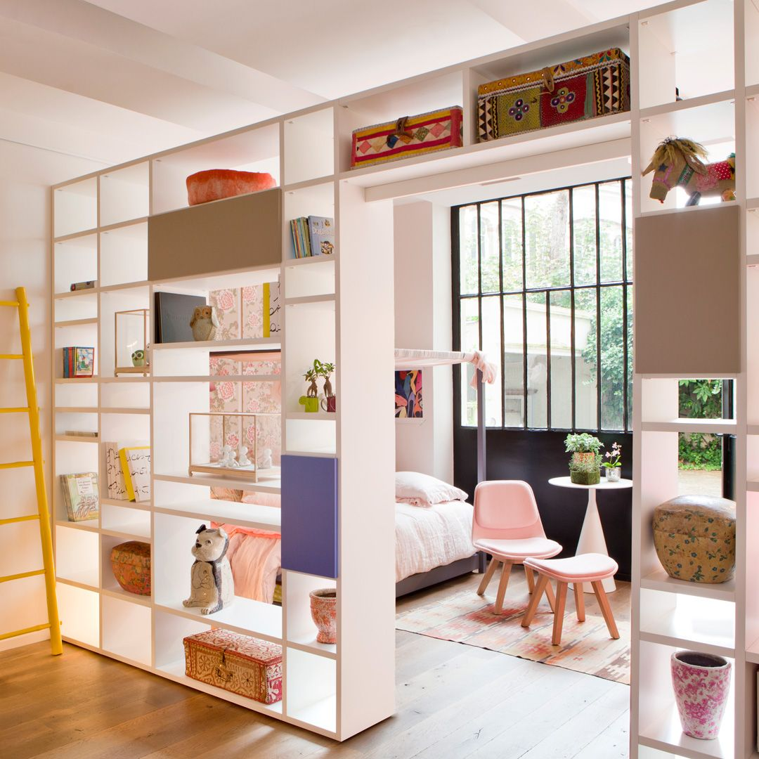 Biblioth que traversante doimo pour s parer une pi ce en deux showroom rue d 39 assas paris 6 for Idee separation studio