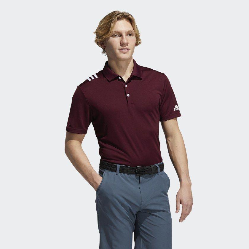 Adidas 3 Stripes Polo Shirt Burgundy Adidas Us In 2021 Striped Polo Shirt Golf Polo Shirts Polo Shirt