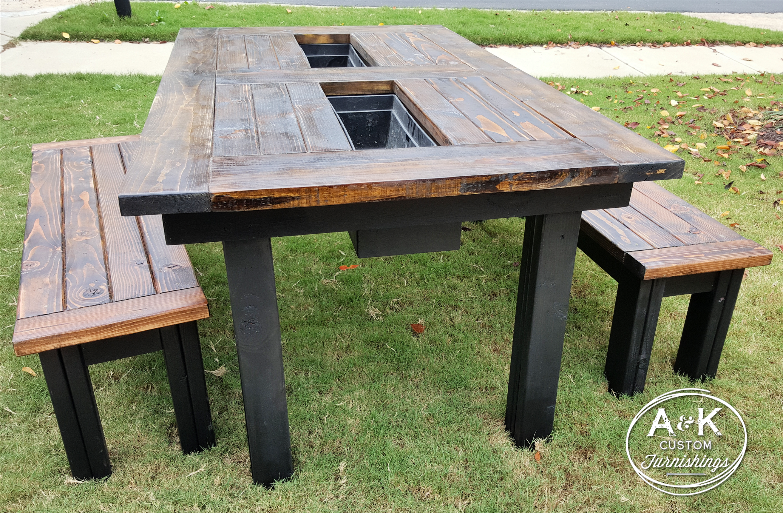 Outdoor Patio Table With Built In Coolers! Benches To Match!