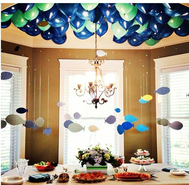 This would be so cute with little monsters @Amy Lyons Channels to you have an area that would hold a lot of balloons and hang little monsters from them/