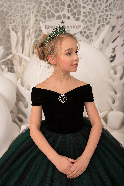 Black velvet flower girl dress birthday wedding party