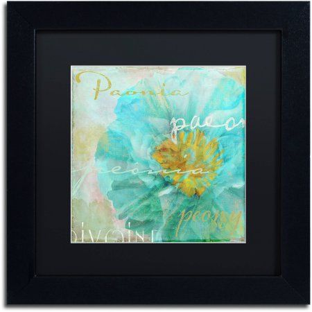 Trademark Fine Art Blue Peony Light Canvas Art by Color Bakery Black Matte, Black Frame - Walmart.com #bluepeonies