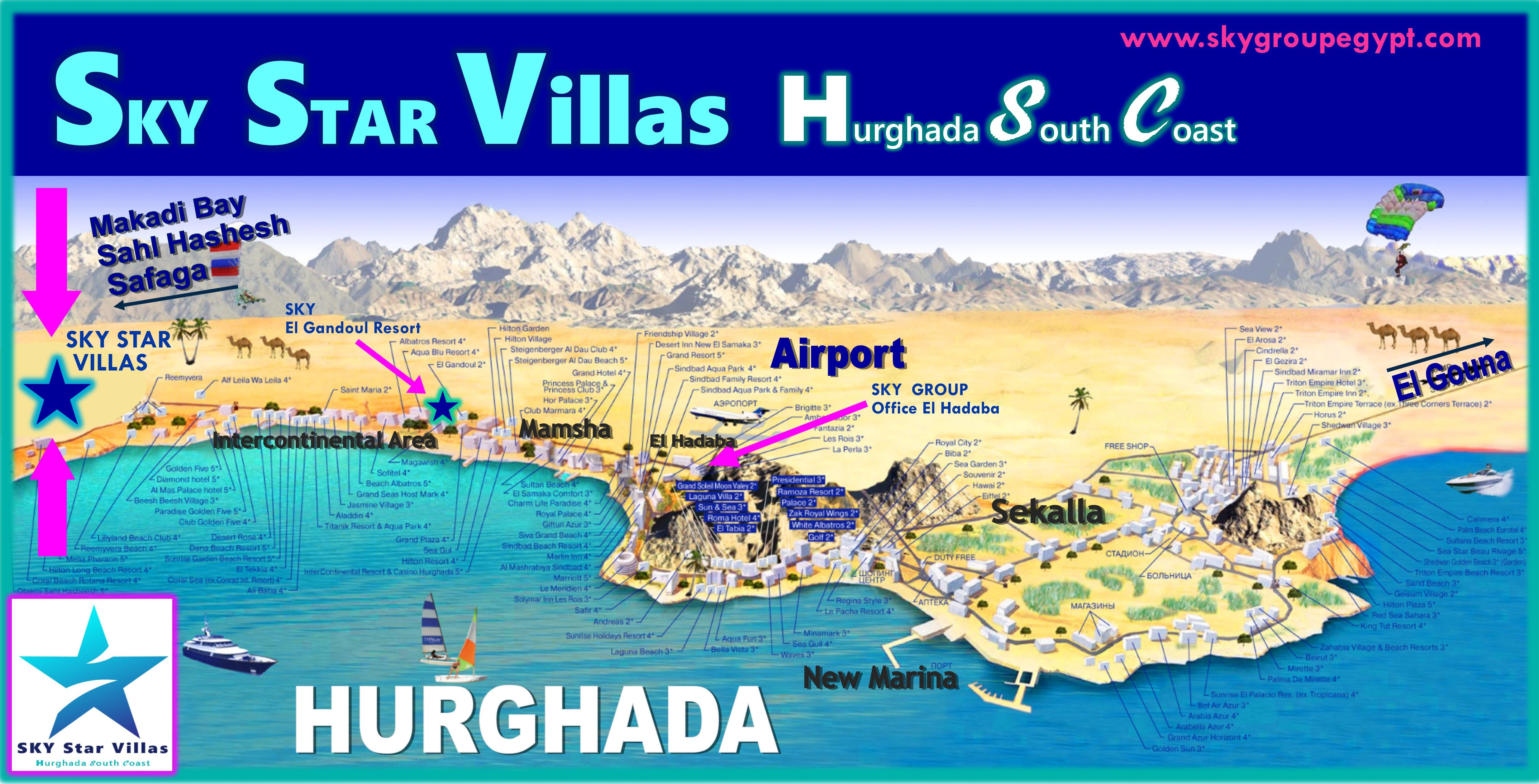 Great Map with locations and hotels in Hurghada, Egypt