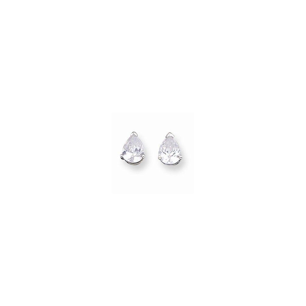 Sterling Silver 6x8mm Pear CZ Stud Earrings