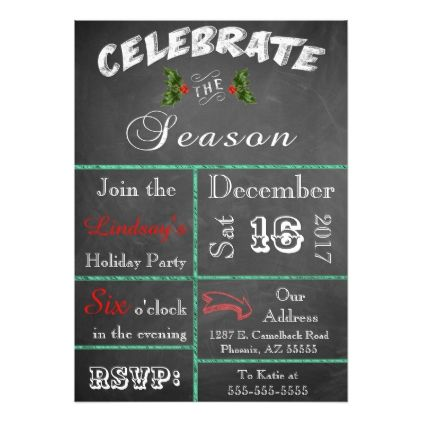 Colorful Chalkboard Christmas Party Invitation Rsvp
