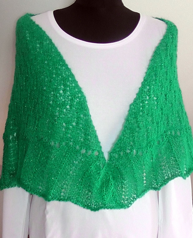 pletený šátek Pletený z mohérové příze - barva jarní zelená se stříbrnou  nitkou. Rozměry  ae0eb60b12