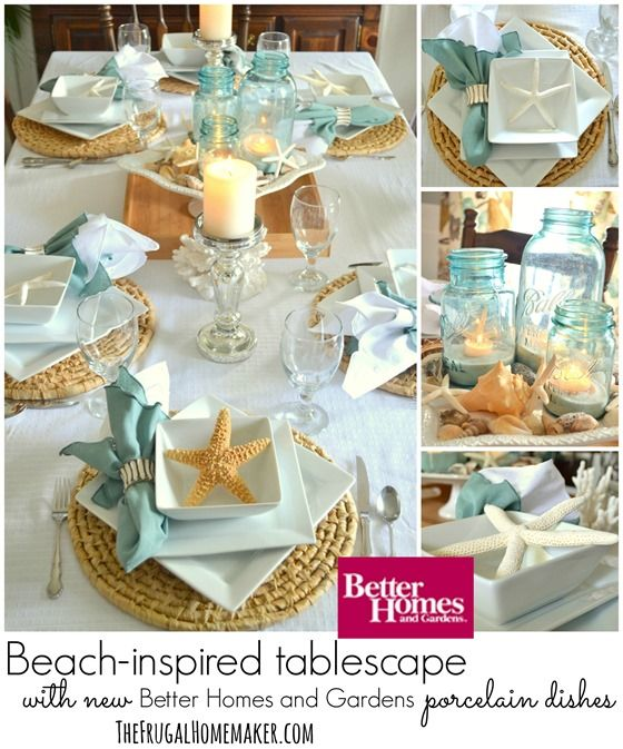 Photo of Beach-inspired tablescape with Better Homes and Gardens new porcelain dishes (+ entertaining tips for hosting a stress-free meal)