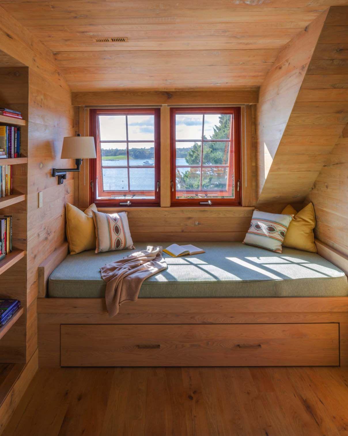 Bed on bay window  a nauticallyinspired nantucket beach cottage getaway