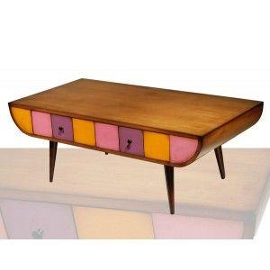 Petite Table Basse A Tiroirs Table Basse Deco Vintage Mobilier De Salon