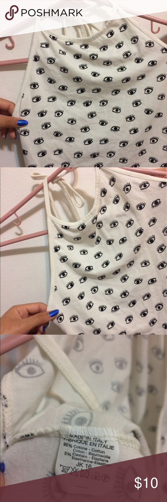 Brandy Melville eye sachi halter No flaws! Good condition, best fits small-medium FINAL PRICE Brandy Melville Tops Tank Tops
