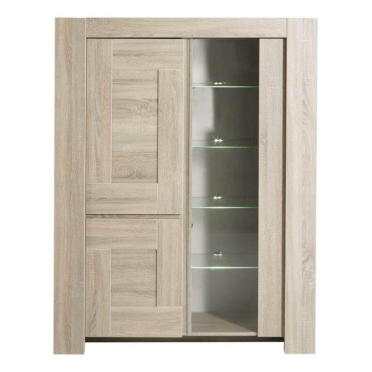 Vitrine 3 Portes En Bois Et Melamine L123xp48 5xh158cm Oak Delamaison Fr Tall Cabinet Storage Storage Cabinet Home Decor