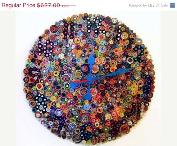 Hey, I found this really awesome Etsy listing at https://www.etsy.com/listing/103835780/cij-sale-large-recycled-paper-wall-clock