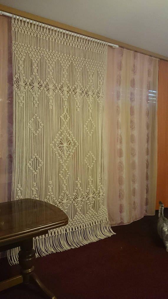 Cortina de macrame grandes tapices de macrame, pared larga macrame