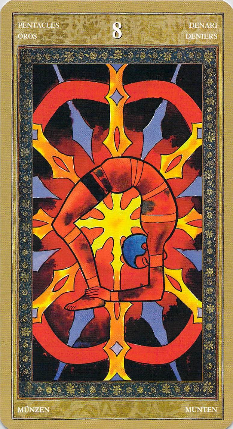 The Viii Of Pentacles Relates To The Number 8 Making This Tarot Card