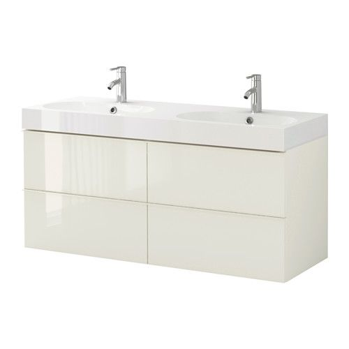 GODMORGON / BRÅVIKEN Sink cabinet with 4 drawers, white high gloss white high gloss white 140x49x68 cm
