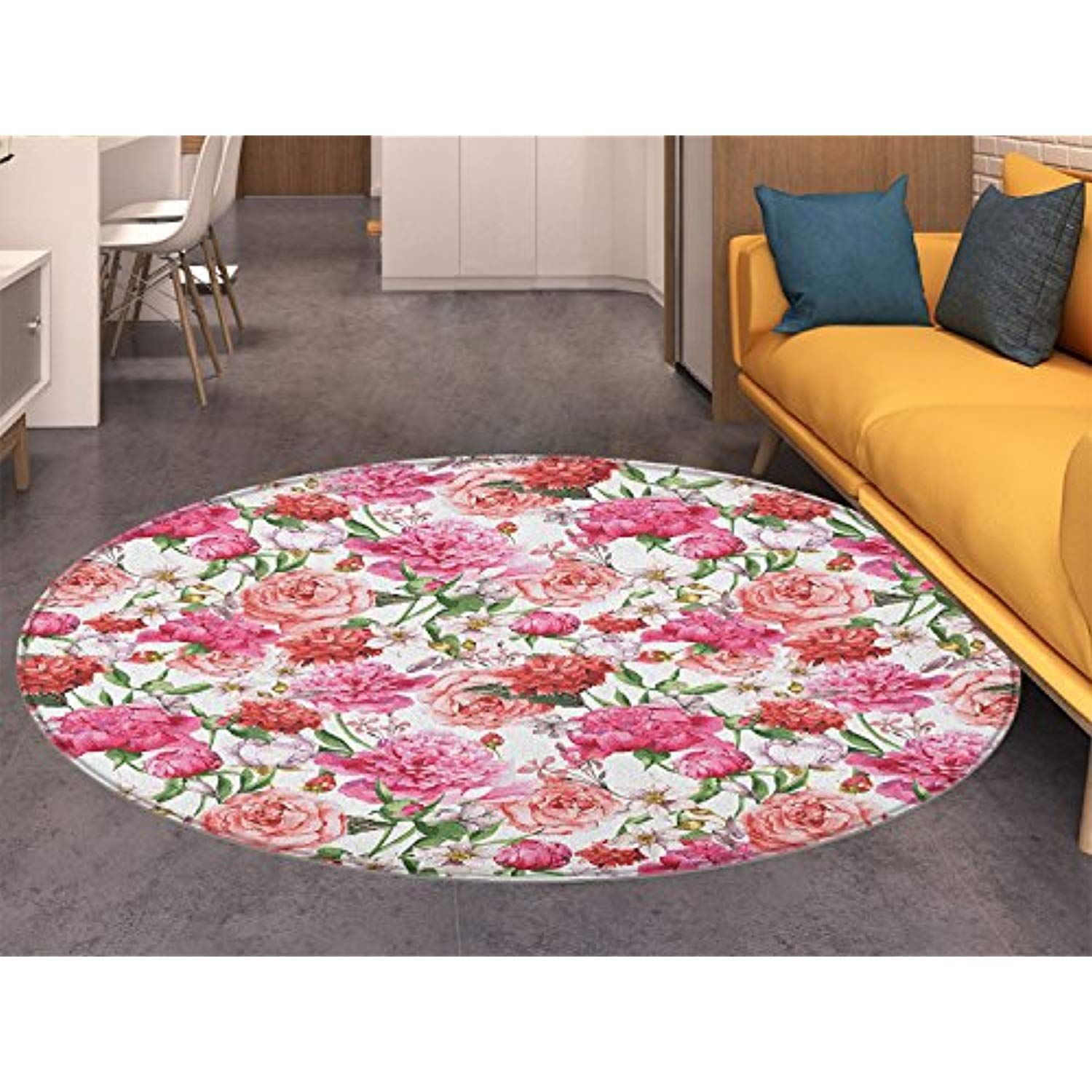 Watercolor Flower Round Area Rug Carpet Victorian Floral Pattern