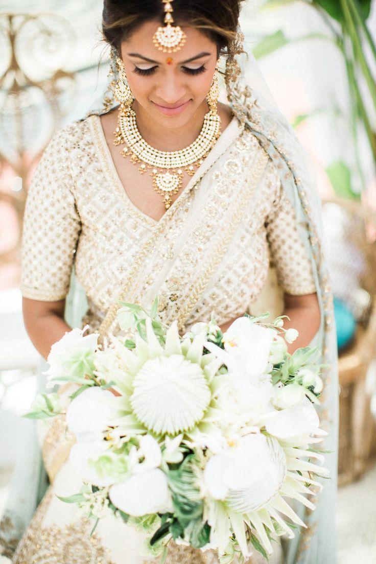 Gold white wedding dress  Tropical Meets Boho in This TulumInspired Hindu  Jewish Wedding