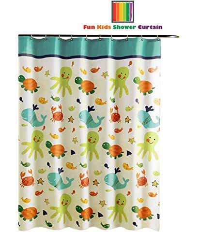 Fun Kids Fabric Bathroom Shower Curtain With 12 Plastic Hooks 72