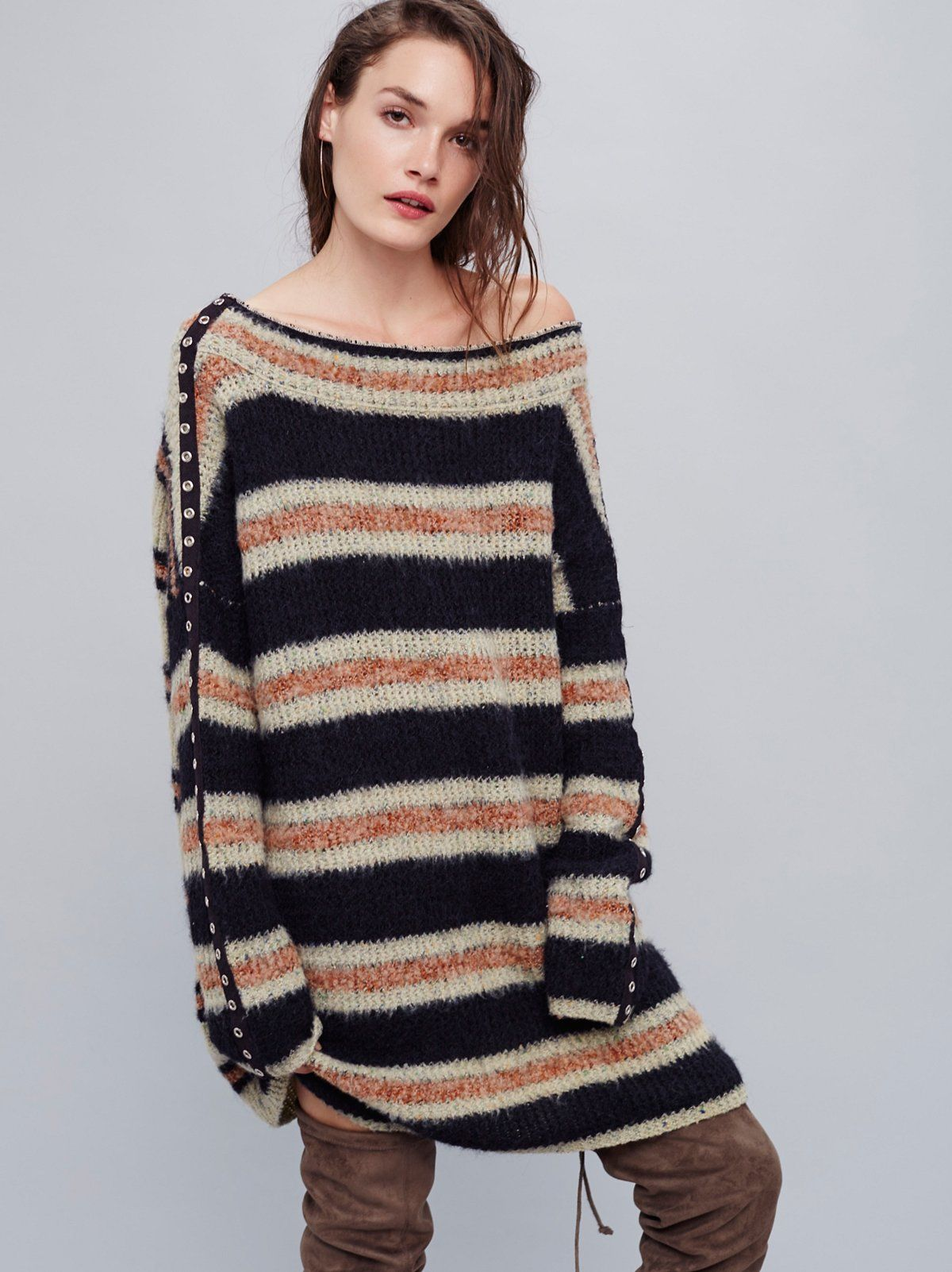 Sid Stripe Tunic | Cozy up in this knit tunic with a cute multi ...