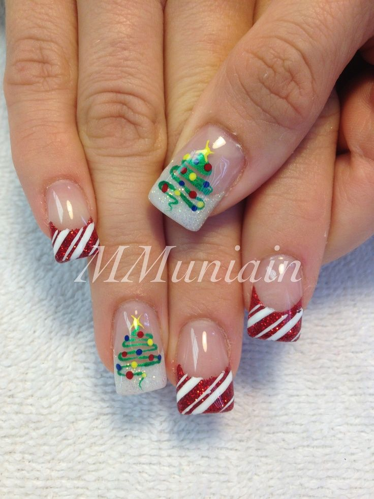 Christmas Nail Art Christmas Tree And Candy Cane Nails Pinterest
