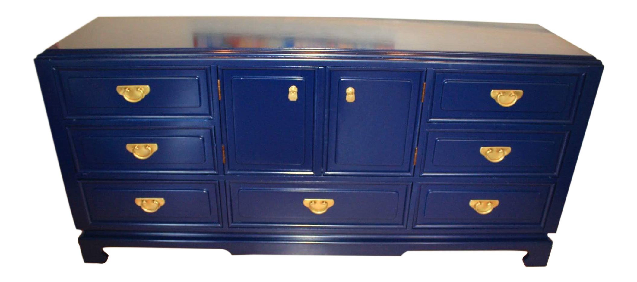 Hollywood Regency Chinoiserie Lacquered Navy Blue Dresser Or