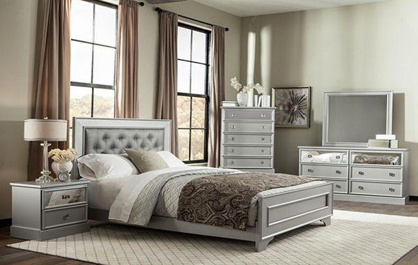 6pc Queen Silver Bedroom Set Famsa Furniture Electronics Appliances Mattresses Furniture Discount Bedroom Furniture Sets Discount Bedroom Furniture