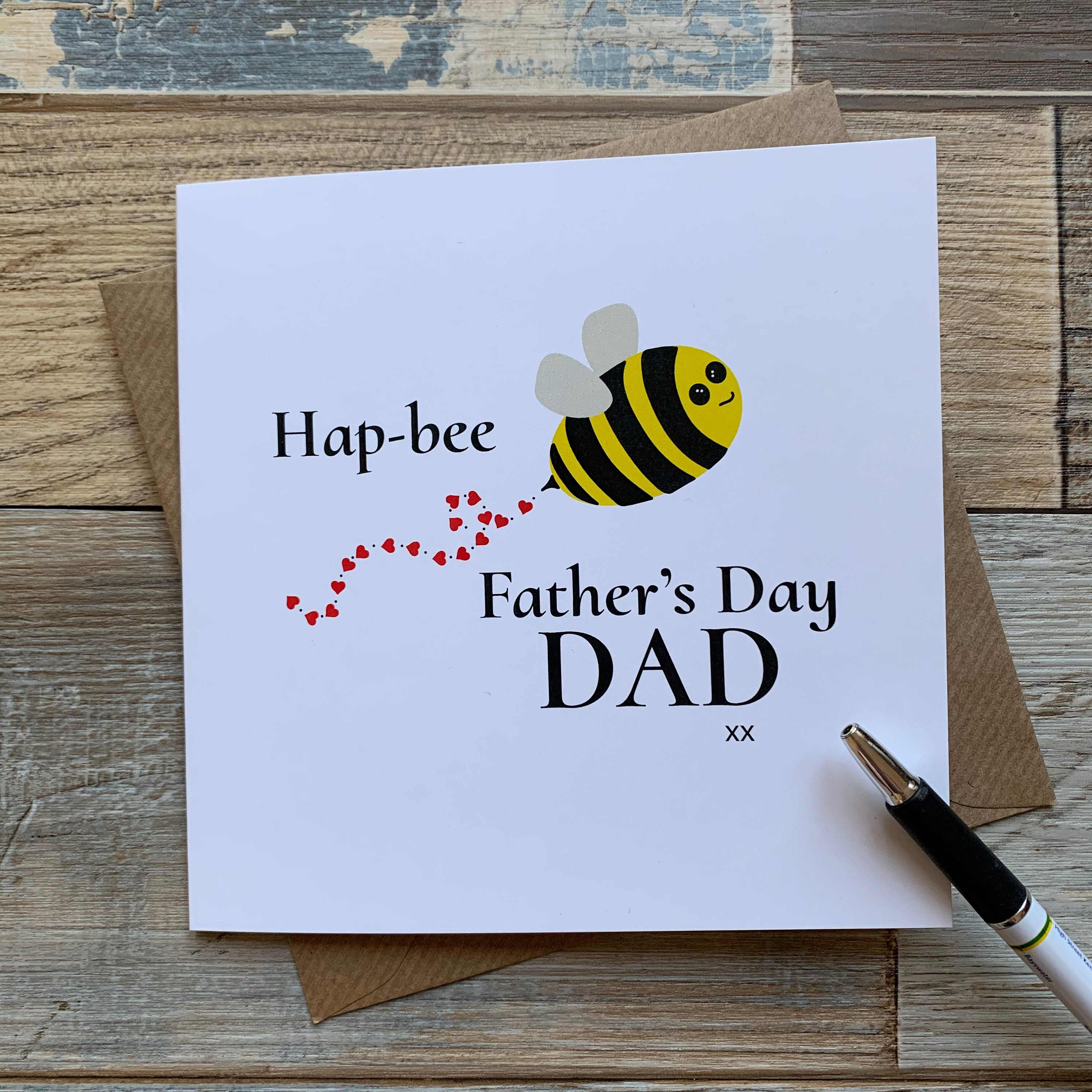 Fathers day card hapbee fathers day dad happy comedy bee
