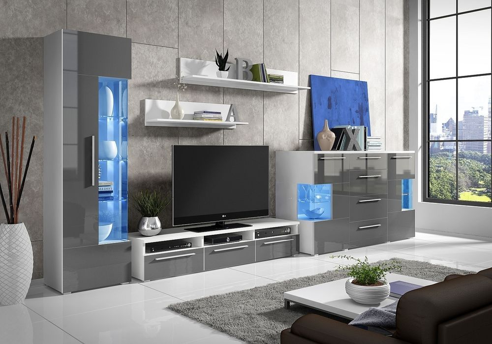 Living Room Furniture Roma High Gloss Set With Led Sideboard Tv Stand Cabinet Tv Stand Cabinet Living Room Furniture Beautiful Houses Interior